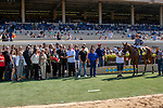 DEL MAR, CA  AUGUST 4:  Drayden Van Dyke aboard #4 Tap the Wire, and the connections in the winners circle after winning the Graduation Stakes on August 4, 2018 at Del Mar Thoroughbred Club in Del Mar, CA. (Photo by Casey Phillips/Eclipse Sportswire/ Getty Images)