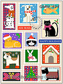 Kate, CHRISTMAS ANIMALS, WEIHNACHTEN TIERE, NAVIDAD ANIMALES, paintings+++++Christmas airmail,GBKM494,#xa#,stamp,cats,dogs