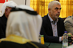 Hamas leader in the Gaza Strip Yahya Sinwar attends a consultation meeting with leaders of Palestinian movements in Gaza city on April 6, 2019. Photo by Ashraf Amra