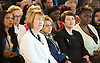 Sadiq Khan <br /> Labour mayor of London Candidate <br /> speech on The Choice facing Londoners <br /> 3rd May 2016 <br /> <br /> Royal Festival Hall, London, Great Britain <br />  Saadiya Khan  - wife watching his speech next to Harriet Harman and Val Shawcross <br /> <br /> <br /> Photograph by Elliott Franks <br /> Image licensed to Elliott Franks Photography Services
