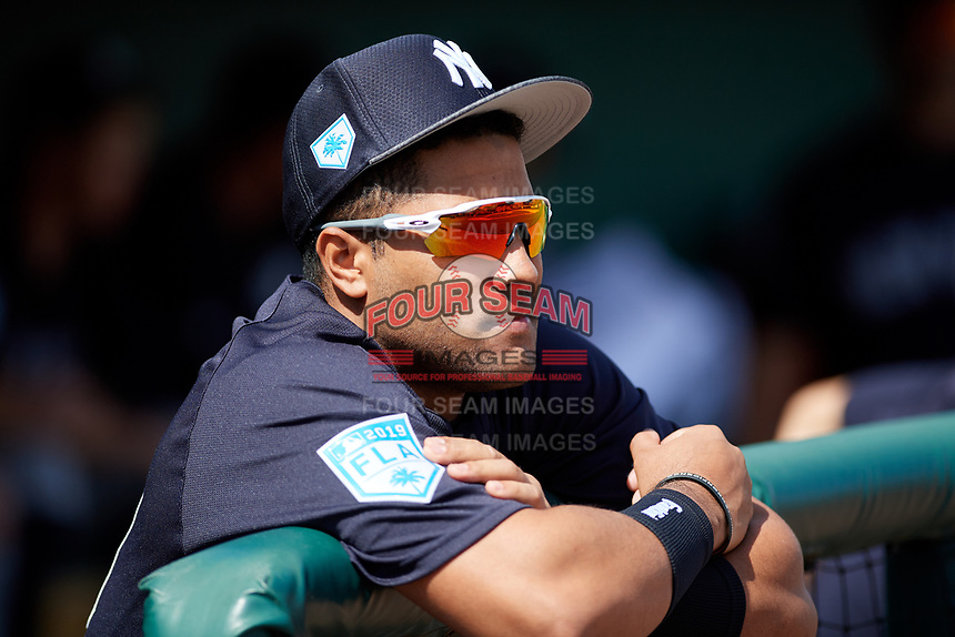 New York Yankees Wendell Rijo (89) in the dugout before a Grapefruit League Spring Training game against the Detroit Tigers on February 27, 2019 at Publix Field at Joker Marchant Stadium in Lakeland, Florida.  Yankees defeated the Tigers 10-4 as the game was called after the sixth inning due to rain.  (Mike Janes/Four Seam Images)