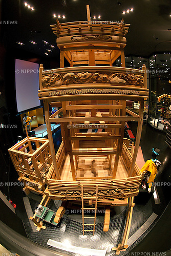 "February 14, 2013, Kawagoe, Japan - The dashi (portable shrine) structure at the Kawagoe Festival Museum. An old town from Edo Period (1603-1867) is located in Kawagoe, 30 minutes by train from central Tokyo. In the past Kawagoe was an important city for trade and strategic purpose, the shogun installed some of their most important loyal men as lords of Kawagoe Castle. Every year ""Kawagoe Festival"" is held in the third weekend of October, people pull portable shrine during the parade, later ""dashi"" floats on the streets nearby. The festival started 360 years ago supported by Nobutsuna Matsudaira, lord of Kawagoe Castle. (Photo by Rodrigo Reyes Marin/AFLO).."