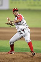 Williamsport Crosscutters pitcher Juary Gomez #34 delivers a pitch during a game against the Batavia Muckdogs at Dwyer Stadium on August 5, 2011 in Batavia, New York.  Williamsport defeated Batavia 5-4.  (Mike Janes/Four Seam Images)