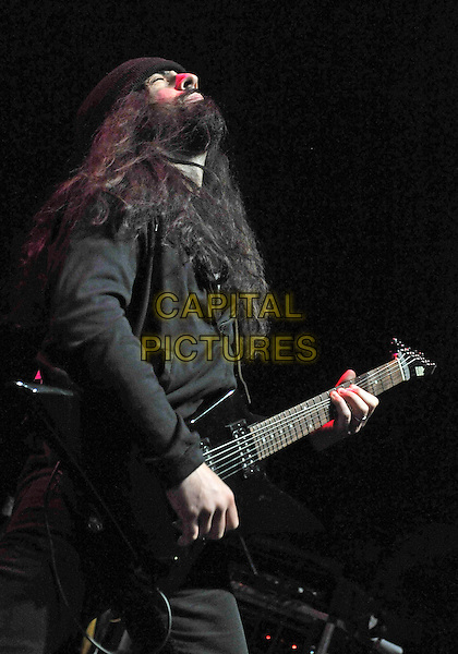 "THE DAMN THINGS - Rob Caggiano.Guitarist ROB CAGGIANO (of the 80's thrash metal band ANTHRAX fame) performs with his new heavy metal supergroup THE DAMN THINGS at a stop on the ""Jagermeister Music Tour"" 2011 held at the Covelli Centre, Youngstown, OH, USA..February 8th, 2011.stage concert live gig performance music half length guitar black beard profile facial hair .CAP/ADM/JN.©Jason L Nelson/AdMedia/Capital Pictures."