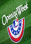 31 March 2011:  The MLB Opening Week logo has been painted on the turf in celebration of Opening Day, prior to a game between the Washington Nationals and the Atlanta Braves at Nationals Park in Washington, District of Columbia. The Braves shut out the Nationals 2-0 to open the 2011 Major League Baseball season. Mandatory Credit: Ed Wolfstein Photo