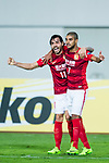 Guangzhou Forward Alan Douglas De Carvalho (R) celebrating his score with Guangzhou Forward Ricardo Goulart (L) during the AFC Champions League 2017 Group G match between Guangzhou Evergrande FC (CHN) vs Kawasaki Frontale (JPN) at the Tianhe Stadium on 14 March 2017 in Guangzhou, China. Photo by Marcio Rodrigo Machado / Power Sport Images