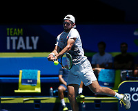 5th January 2020; RAC Arena, Perth, Western Australia; ATP Cup Australia, Perth, Day 3; Italy versus Norway; Viktor Durasovic of Norway plays a backhand shot against Stefano Travaglia of Italy - Editorial Use