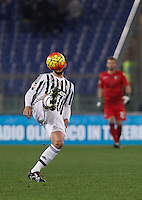 Calcio, Serie A: Lazio vs Juventus. Roma, stadio Olimpico, 4 dicembre 2015.<br /> Juventus&rsquo; Alvaro Morata has his face hidden by the ball during the Italian Serie A football match between Lazio and Juventus at Rome's Olympic stadium, 4 December 2015.<br /> UPDATE IMAGES PRESS/Isabella Bonotto