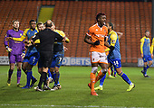 18/12/18 The Emirates FA Cup, 2nd Round Replay Blackpool v Solihull Moor<br /> <br /> Armand Gnanduillet celebrates being awarded a penalty
