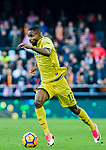 Cedric Bakambu of Villarreal CF in action during the La Liga 2017-18 match between Valencia CF and Villarreal CF at Estadio de Mestalla on 23 December 2017 in Valencia, Spain. Photo by Maria Jose Segovia Carmona / Power Sport Images
