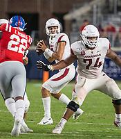 NWA Democrat-Gazette/BEN GOFF @NWABENGOFF<br /> Nick Starkel, Arkansas quarterback, looks for a receiver in the third quarter vs Ole Miss Saturday, Sept. 7, 2019, at Vaught-Hemingway Stadium in Oxford, Miss.