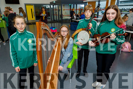 Eliza O'Donnell, Deirbhile O'Carroll, Gerogie O'Donnell and Samantha O'Sullivan, members of the Ballydonoghue CCE taking part in the CCE County finals of Ceol anGheimhridh in the Duchas Comhaltas Centre, IT Tralee on Saturday.