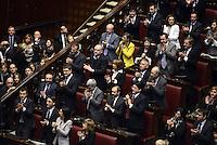 Roma, 15 Marzo 2013.Montecitorio, Camera dei Deputati.Primo giorno in Aula della XVII Legislatura del Parlamento italiano.I deputati e le deputate di Sinistra ecologia Libertà