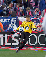 DC United goalkeeper Pat Onstad (20) punts the ball. In a Major League Soccer (MLS) match, the New England Revolution defeated DC United, 2-1, at Gillette Stadium on March 26, 2011.
