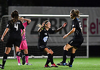Woluwe's Lies Tambeur (15) pictured celebrating with teammates after scoring during a female soccer game between Sporting Charleroi and FC Femina White Star Woluwe on the second matchday of the 2020 - 2021 season of Belgian Scooore Women s SuperLeague , friday 4 th of September 2020  in Marcinelle , Belgium . PHOTO SPORTPIX.BE | SPP | DAVID CATRY