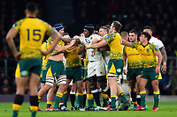 Maro Itoje of England gets to know Australia forwards. Quilter International match between England and Australia on November 24, 2018 at Twickenham Stadium in London, England. Photo by: Patrick Khachfe / Onside Images