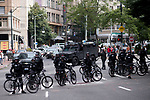 Seattle Police used moving bike road blocks to prevent protestors from reaching the Patriot Prayer event at Westlake Park, during the Solidarity Against Hate rally Sunday August 13, 2017 in Seattle.