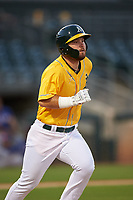 AZL Athletics Gold Payton Squier (41) runs to first base during a rehab assignment in an Arizona League game against the AZL Rangers on July 15, 2019 at Hohokam Stadium in Mesa, Arizona. The AZL Athletics Gold defeated the AZL Athletics Gold 9-8 in 11 innings. (Zachary Lucy/Four Seam Images)