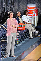 17 November 2011:  FIU Head Coach Danijela Tomic watches as players warm up prior to the match.  The FIU Golden Panthers defeated the Denver University Pioneers, 3-1 (25-21, 23-25, 25-21, 25-18), in the first round of the Sun Belt Conference Tournament at U.S Century Bank Arena in Miami, Florida.
