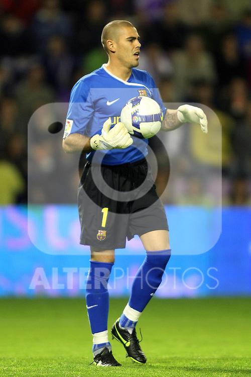 FC Barcelona's Victor Valdes during La Liga match.April 4 2009. (ALTERPHOTOS/Acero).