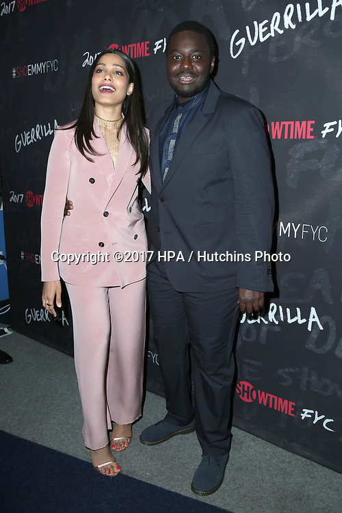 "LOS ANGELES - APR 13:  Freida Pinto, Babou Ceesay at the ""Guerrilla"" FYC Event at the Writer's Guild of America Theater on April 13, 2017 in Beverly Hills, CA"
