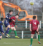 EEjob 04/03/2015 Sport<br /> Colaiste Stiffen Naofa Jack Inglish &amp; NUI Galway Evan Boyce in Action during there the CUFL Final in Limerick.<br /> Picture  Credit Brian Gavin Press 22
