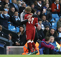 Liverpool manager Jurgen Klopp embraces Mohamed Salah as he is replaced in the second half<br /> <br /> Photographer Rich Linley/CameraSport<br /> <br /> UEFA Champions League Quarter-Final Second Leg - Manchester City v Liverpool - Tuesday 10th April 2018 - The Etihad - Manchester<br />  <br /> World Copyright &copy; 2017 CameraSport. All rights reserved. 43 Linden Ave. Countesthorpe. Leicester. England. LE8 5PG - Tel: +44 (0) 116 277 4147 - admin@camerasport.com - www.camerasport.com