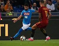 Elseid Hysaj  during the  italian serie a soccer match, AS Roma -  SSC Napoli       at  the Stadio Olimpico in Rome  Italy , 14 ottobre 2017