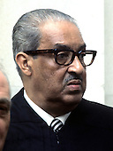 "Associate Justice of the United States Supreme Court Thurgood Marshall poses for a photo during a photo-op at the U.S. Supreme Court in Washington, D.C. on Friday, October 9, 1970.  Marshall was appointed in 1967 by U.S. President Lyndon B. Johnson..Credit: Benjamin E. ""Gene"" Forte / CNP"