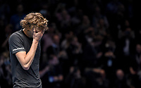 Alexander Zverev crying tears of happiness after winning 2018 ATP World Tour Finals<br /> <br /> Photographer Hannah Fountain/CameraSport<br /> <br /> International Tennis - Nitto ATP World Tour Finals Day 7 - O2 Arena - London - Saturday 17th November 2018<br /> <br /> World Copyright &copy; 2018 CameraSport. All rights reserved. 43 Linden Ave. Countesthorpe. Leicester. England. LE8 5PG - Tel: +44 (0) 116 277 4147 - admin@camerasport.com - www.camerasport.com