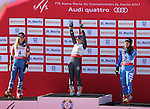 ALPINE WORLD SKI CHAMPIONSHIPS 2017. Mikaela Shiffrin, Tessa Worley, Sofia Goggia at the podium during the Ladie's Giant Slalom in St. Moritz on February 16, 2017. France's Tessa Worley is the new World Champion ahead of USA's Mikaela Shiffrin, Sofia Goggia from Italy is third .