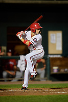 Harrisburg Senators shortstop Carter Kieboom (5) at bat during a game against the Erie SeaWolves on August 29, 2018 at FNB Field in Harrisburg, Pennsylvania.  Harrisburg defeated Erie 5-4.  (Mike Janes/Four Seam Images)