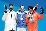 (L-R) Keith Gabel (USA), HamariMatti Suur (FIN), Gurimu Narita (JPN),  MARCH 12, 2018 - Snowboarding :  Men's Snowboard Cross Standing Medal Ceremony at PyeongChang Medals Plaza during the PyeongChang 2018 Paralympics Winter Games in Pyeongchang, South Korea.  (Photo by Yusuke Nakanishi/AFLO SPORT)