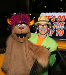 Rick Lyon and Trekkie Monster taking the 'Avenue Q' - 15th Anniversary Performance Taxi Cab at New World Stages on July 31, 2018 in New York City.