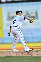 Asheville Tourists pitcher Lucas Gilbreath (35) delivers a pitch during a game against the Rome Braves at McCormick Field on April 17, 2018 in Asheville, North Carolina. The Tourists defeated the Braves 1-0. (Tony Farlow/Four Seam Images)