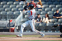 Ryan Aguilar (11) of the Carolina Mudcats follows through on his swing against the Fayetteville Woodpeckers at SEGRA Stadium on May 18, 2019 in Fayetteville, North Carolina. The Mudcats defeated the Woodpeckers 6-4. (Brian Westerholt/Four Seam Images)