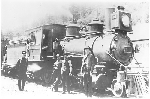 3/4 engineer's-side view of D&amp;RG #276 posing with her crew at Ouray.<br /> D&amp;RG  Ouray, CO