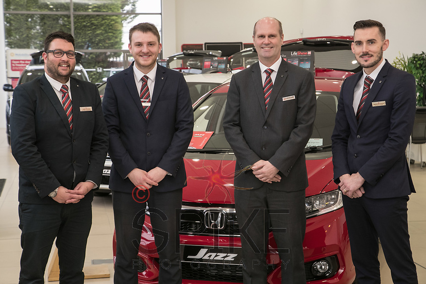 Vertu Honda dealership Nottingham. Pictured from left are Chris Duggen, Sam Austin, Anthony Curry, and Mark Whitehead