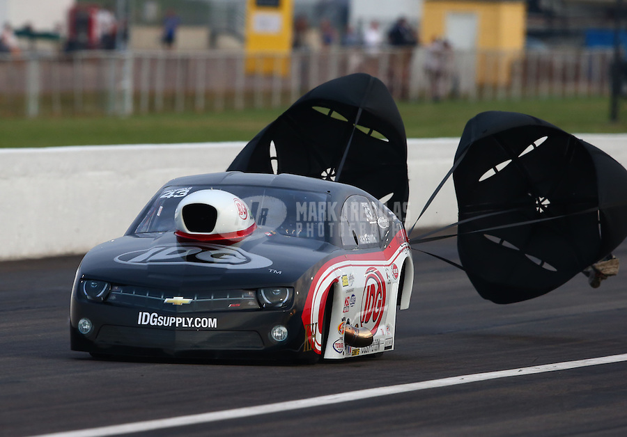 Sept. 1, 2013; Clermont, IN, USA: NHRA pro mod driver Rickie Smith during qualifying for the US Nationals at Lucas Oil Raceway. Mandatory Credit: Mark J. Rebilas-