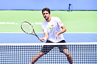 Washington, DC - August 6, 2017: Marcelo Melo (BRA) in action against Henri Kontinen (FIN) and John Peers (AUS) during the Citi Open Doubles Finals at Rock Creek Tennis Center, in Washington D.C. (Photo by Philip Peters/Media Images International)