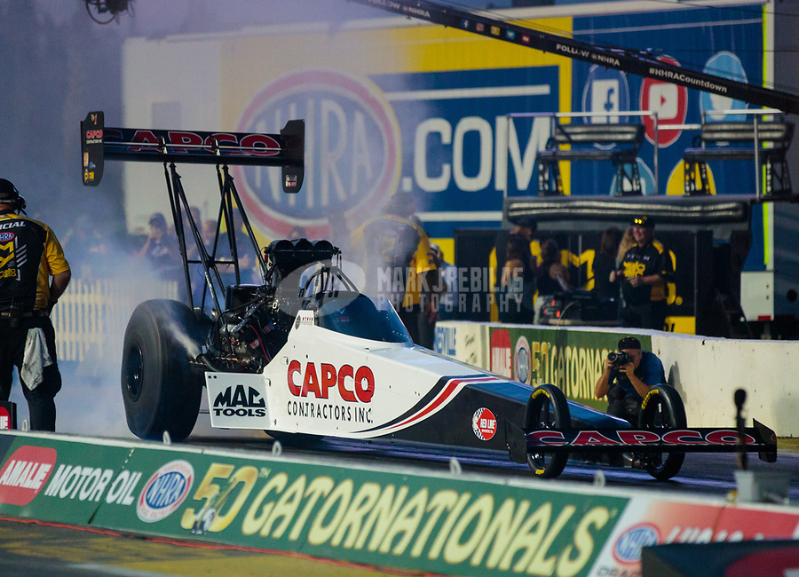 Mar 15, 2019; Gainesville, FL, USA; NHRA top fuel driver Steve Torrence during qualifying for the Gatornationals at Gainesville Raceway. Mandatory Credit: Mark J. Rebilas-USA TODAY Sports