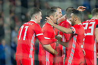 Tom Lawrence of Wales (left) celebrates scoring his side's first goal with Neil Taylor during the International Friendly match between Wales and Panama at the Cardiff City Stadium, Cardiff, Wales on 14 November 2017. Photo by Mark Hawkins.