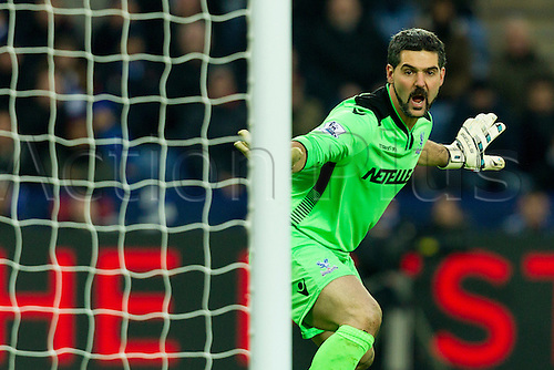 07.02.2015.  Leicester, England. Barclays Premier League. Leicester City versus Crystal Palace. Julian Speroni (Crystal Palace) shouts for his players to leave a cross to go dead.