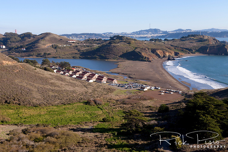 Rodeo Beach, Rodeo Lagoon, Fort Cronkhite, and the Marin Headlands at the Golden Gate National Recreation Area.