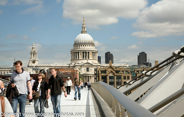 View of the dome of St Paul's cathedral from the Millennium footbridge, London