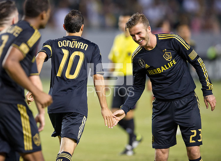 CARSON, CA - July 21, 2012: LA Galaxy midfielder David Beckham (23) celebrating a goal during the LA Galaxy vs Chivas USA match at the Home Depot Center in Carson, California. Final score LA Galaxy 3, Chivas USA 1.