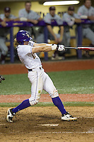 LSU Tigers second baseman Jared Foster (17) swings the bat during a Southeastern Conference baseball game against the Texas A&M Aggies on April 23, 2015 at Alex Box Stadium in Baton Rouge, Louisiana. LSU defeated Texas A&M 4-3. (Andrew Woolley/Four Seam Images)