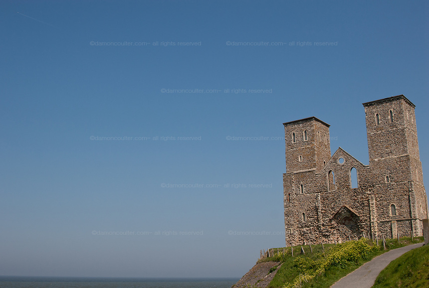 The ruins of a 14th Century church on a cliff top in Reculver Country Park at Reculver near Herne Bay in Kent. UK Wednesday May 7th 2008