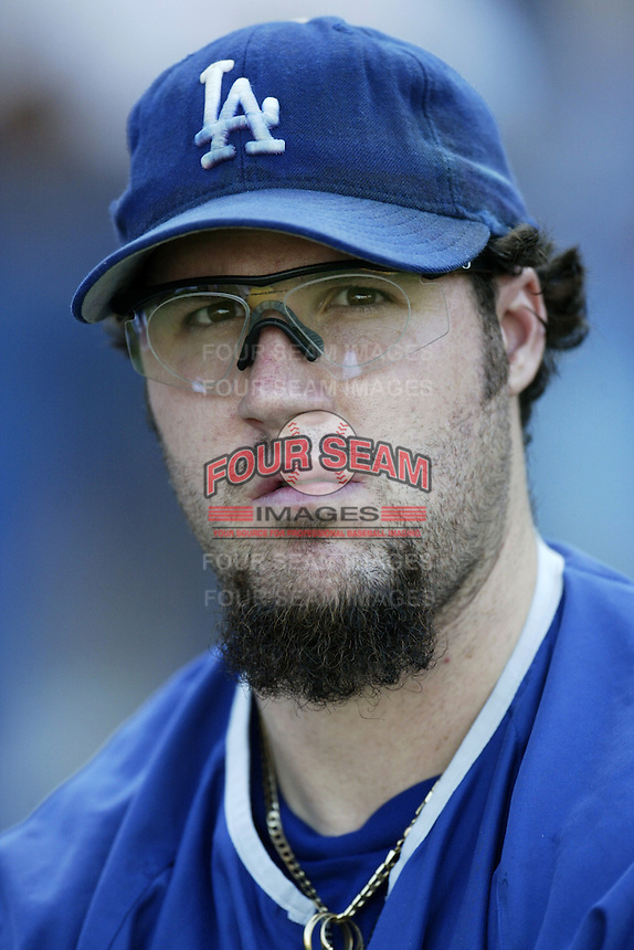 Eric Gange of the Los Angeles Dodgers before a 2002 MLB season game at Dodger Stadium, in Los Angeles, California. (Larry Goren/Four Seam Images)