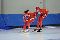 SCHAATSEN: SALT LAKE CITY: Utah Olympic Oval, 13-11-2013, Essent ISU World Cup, training, Mayon Kuipers (NED), Margot Boer (NED), ©foto Martin de Jong